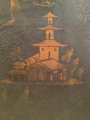 Vintage Reproduction Black and Gold Painted Japanese Tray Hiliu W B J... noff 8