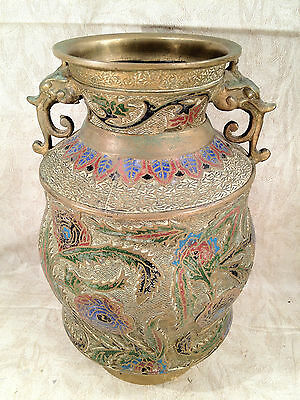 Antique Japanese Bronze Champleve Enamel Vase 6