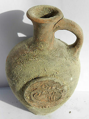 Biblical Ancient Terracotta Holy Land Roman pottery Jug Clay With Ancient Coin 4