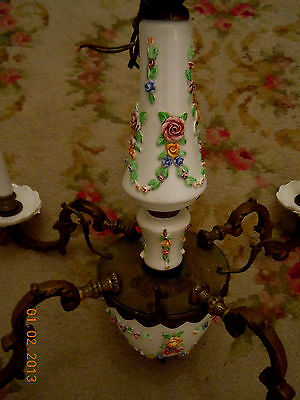 French Porcelain BARBOLA ROSES & SWAGS Chandelier with Hanging Rose Bouquets 4