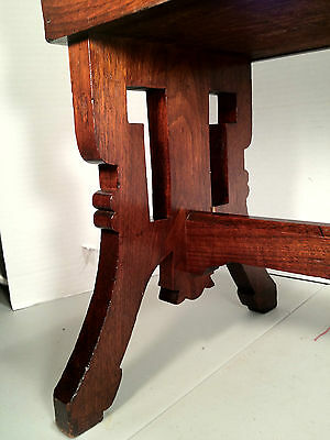 Antique Victorian Oak Sewing Stool w/ Hinged Lid - Cushioned Red Top 6