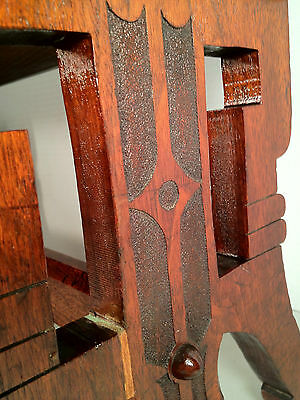 Antique Victorian Oak Sewing Stool w/ Hinged Lid - Cushioned Red Top 3