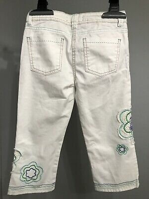 NEW MINI BODEN Girl Cropped Capri Embroidered White Jeans Flower Size 10 4
