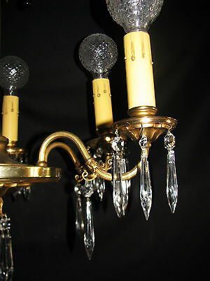 Vintage Art Deco Victorian Brass Crystals Chandelier Ceiling Light Fixture 20's 9