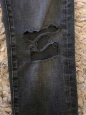 H AND M SKINNY DARK GREY WASHED JEANS RIPPED KNEES TECH STRETCH 29 Waist 32 Leg 2