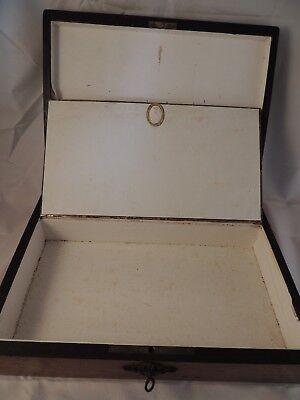 Caja Antigua De Madera De Roble Con Compartimentos 4