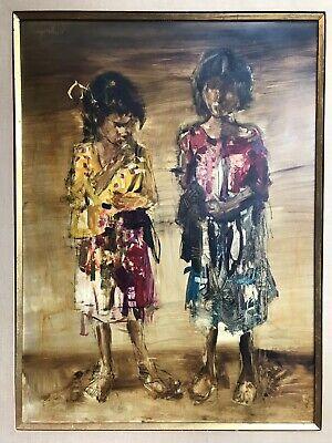 Mario Agostinelli (1915-2000 Peru) Portrait of Two Sisters, Oil on Masonite 2