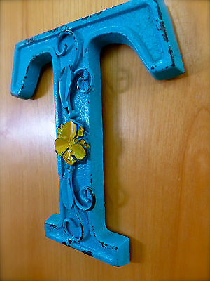 "BLUE CAST IRON WALL LETTER ""T"" 6.5"" TALL rustic vintage decor sign child nursery 3"