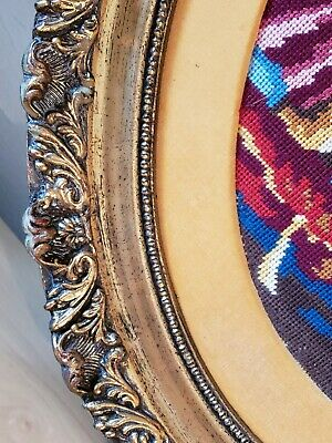 Antique Victorian Oval Wood Gold Gilt very ornate Frame EMBROIDERED Man n woman 4