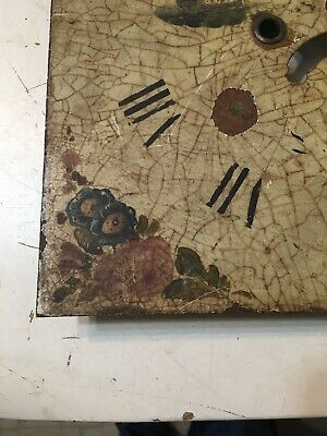 Crusty Antique Grandfather Clock Dial With Painted Tall Ships & Flowers 8
