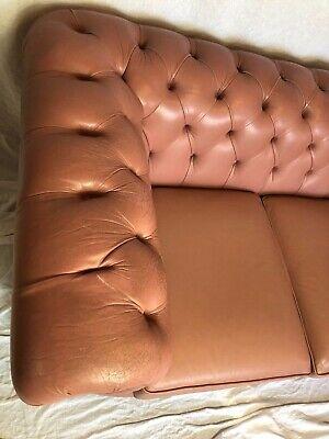 1 Luxury Handmade Vintage Leather Chesterfield Sofa 2 Seater Settee Salmon Pink 5