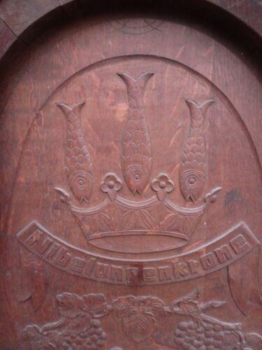 1952 commemorative German armorial carved oak copper pub sign wine barrel end 2