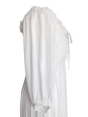 Off White Long Boho Peasant Jane Austen Regency Gypsy Maxi Wedding Pirate Dress 6