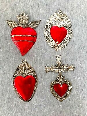 Milagros Charms - Tin Painted Sacred Heart Ornaments - Mexican Art (Set of 4) - 6