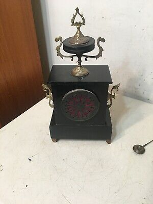 Antique French Slate Case Mantle Clock Urn Top Paw Feet Fancy Japy Marti era 8