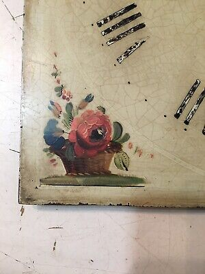 Antique Grandfather Clock Dial With Hand Painted Flowers In Vases & Baskets 5