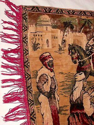 BELGIUM Made, Vintage Rug Wall Hanging Tapestry w Fringe, Woman Dancing SUPERB! 4