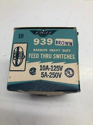 Vintage New Old Stock Eagle Inline Feed Through Switch Bacelite ,Box Of 10 3