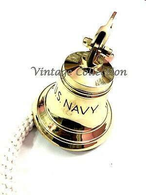 Brass Ship Bell with Rope Lanyard Pull ~ Nautical Maritime Home Wall Decor 2