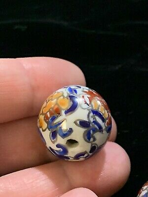 Hand Painted Porcelain Chinese Rare Vintage Bead Imari Colors 20mm Round 3