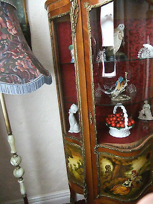 Antique bow fronted Vernis Martin Ormolu Display French Style Cabinet stunning - 3