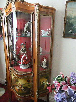 Antique bow fronted Vernis Martin Ormolu Display French Style Cabinet stunning - 2