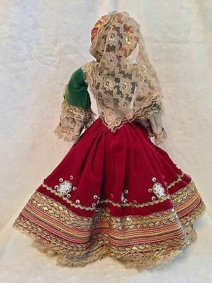 "Antique European Mediterranean Greek Doll - Silk Cloth Face - 14.5"" Tall 7"
