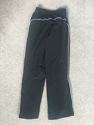 "Girls Black Lined Tracksuit Trousers With Side Zipped Legs Size 26"" Waist 4"