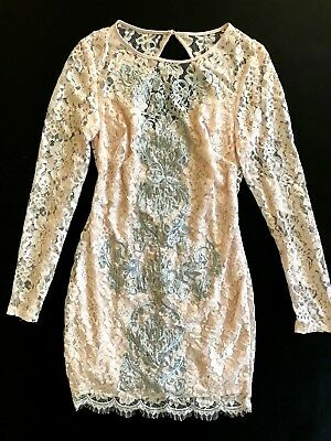 NWT Bebe coral pink blush lace floral open back long sleeve top dress M Medium 6 3