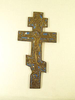 Antique Russian Brass  Enamel Crucifix Cross 3