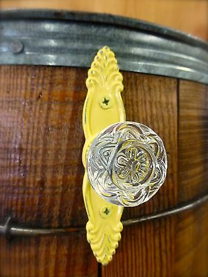 4 YELLOW ANTIQUE-STYLE FRENCH PULL CLEAR KNOB DRAWER CABINET HANDLE vintage chic 8