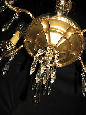 Vintage Art Deco Victorian Brass Crystals Chandelier Ceiling Light Fixture 20's 10