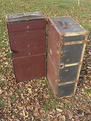 Steam Punk, Mendel & Co. Wardrobe Steamer Trunk, Yale Lock & drawers c. 1900 5