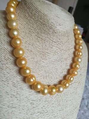 """18/"""" AAA 11-10 MM SOUTH SEA NATURAL GOLDEN PEARL NECKLACE 14K GOLD CLASP"""