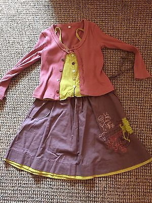 Captain Tortue Skirt Top Cardigan Outfit Set Mauve Lime Green Dusky Pink Age 6 7 7
