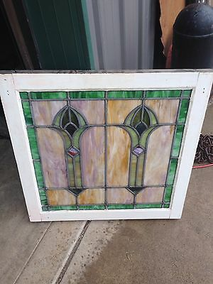 Antique 1920S Arts And Crafts Antiques Stainglass Window Sg 21
