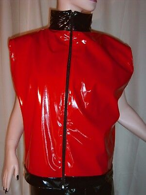 Lackweste mit Reißverschluß,Stehkragen,Vinylvest,Zipper,High Collar
