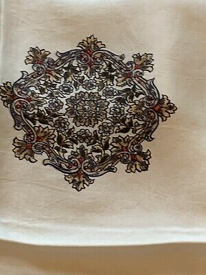 Vtg 80s Italian Silk Scarf Cream W/Brown Red Cluster Border Chariot Ships Wheel 5
