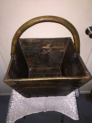 Antique Wooden Asian Rice Measure Basket With Dovetail & Wrought Iron Brackets 4
