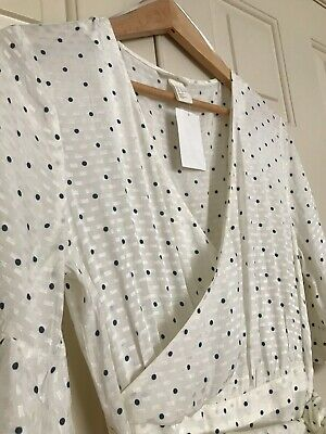 cdf74002732b ... NWT Blogger Favs WHITE SPOTTED H&M TREND CONSCIOUS LONG FLOUNCED DRESS,  ...