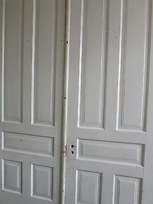 Double Five Panel 1890's Painted White Oversized Doors Architectural Salvage 2