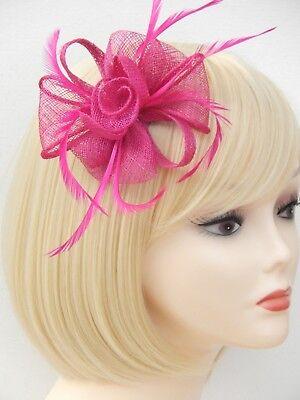 Fuchsia Pink Fascinator Brooch Clip Hair Feather Flower Wedding Ladies Day Races 5