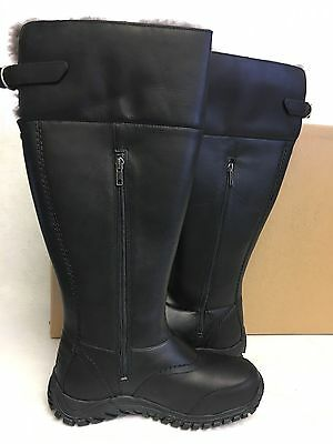 3bde438fee8 UGG AUSTRALIA TALL MIKO BLACK WATERPROOF LEATHER SHEEPSKIN BOOTS 1012519