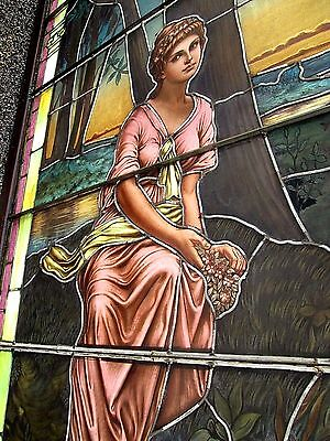 10.5' Monumental Jeweled Antique Stained Glass Portrait Window  Ny Estate # 1 5