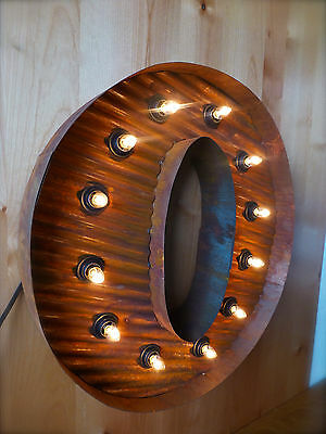 """LG BROWN VINTAGE STYLE LIGHT UP MARQUEE LETTER O, 24"""" TALL novelty rustic sign"""
