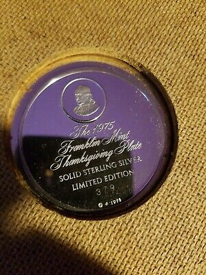 1975 Franklin Mint Thanksgiving Plate Sterling Silver Plate ~180 Grams Scrap 4