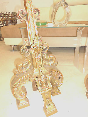 Tall Antique Hollywood Regency Andirons Nouveau Draper Era Old Bronze Florentine 8