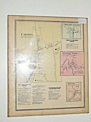 Vintage Carmel Towners Station New York Antique Map from Beers Atlas of 1867 3