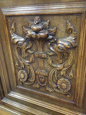 Carved Victorian Walnut Flemish Buffet Bookcase Bacchus Dresser GreenManPussyOak 12