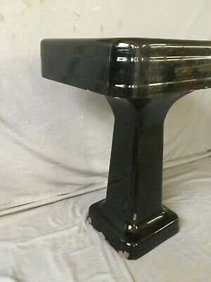 "Antique 24"" Cast Iron Black Porcelain Bath Pedestal Sink Old Vtg Crane 234-19E 3"